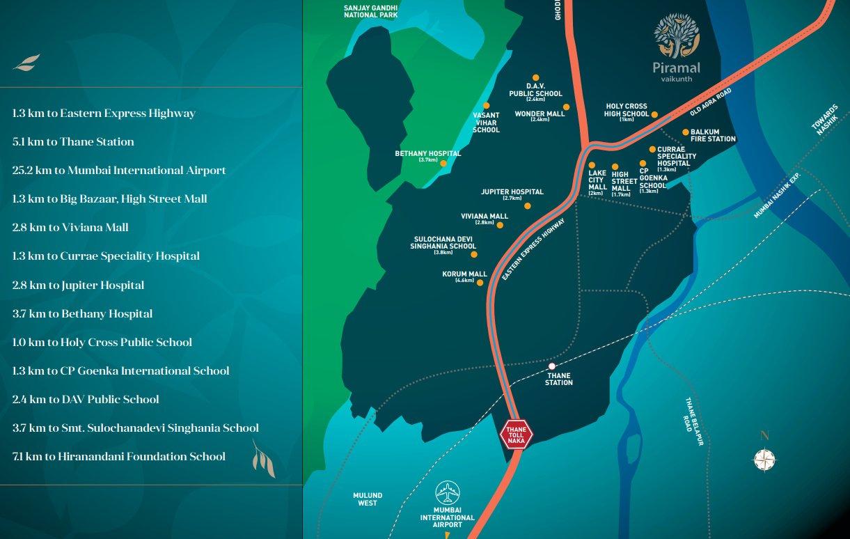 Piramal Vaikunth Phase II Vahin & Vrisa location map