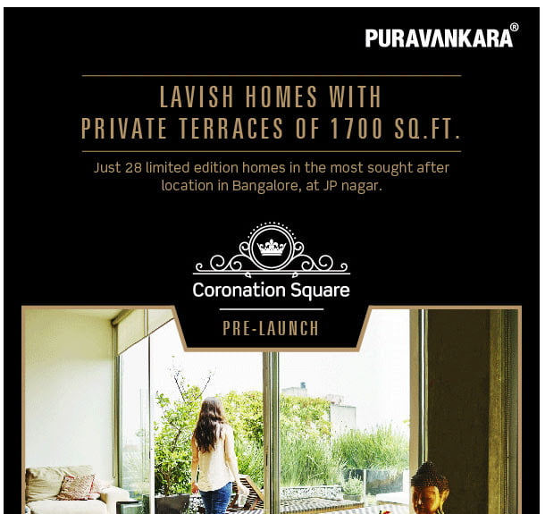 Pre-launching Purva Coronation Square, Just 28 Lavish homes, JP Nagar Bangalore
