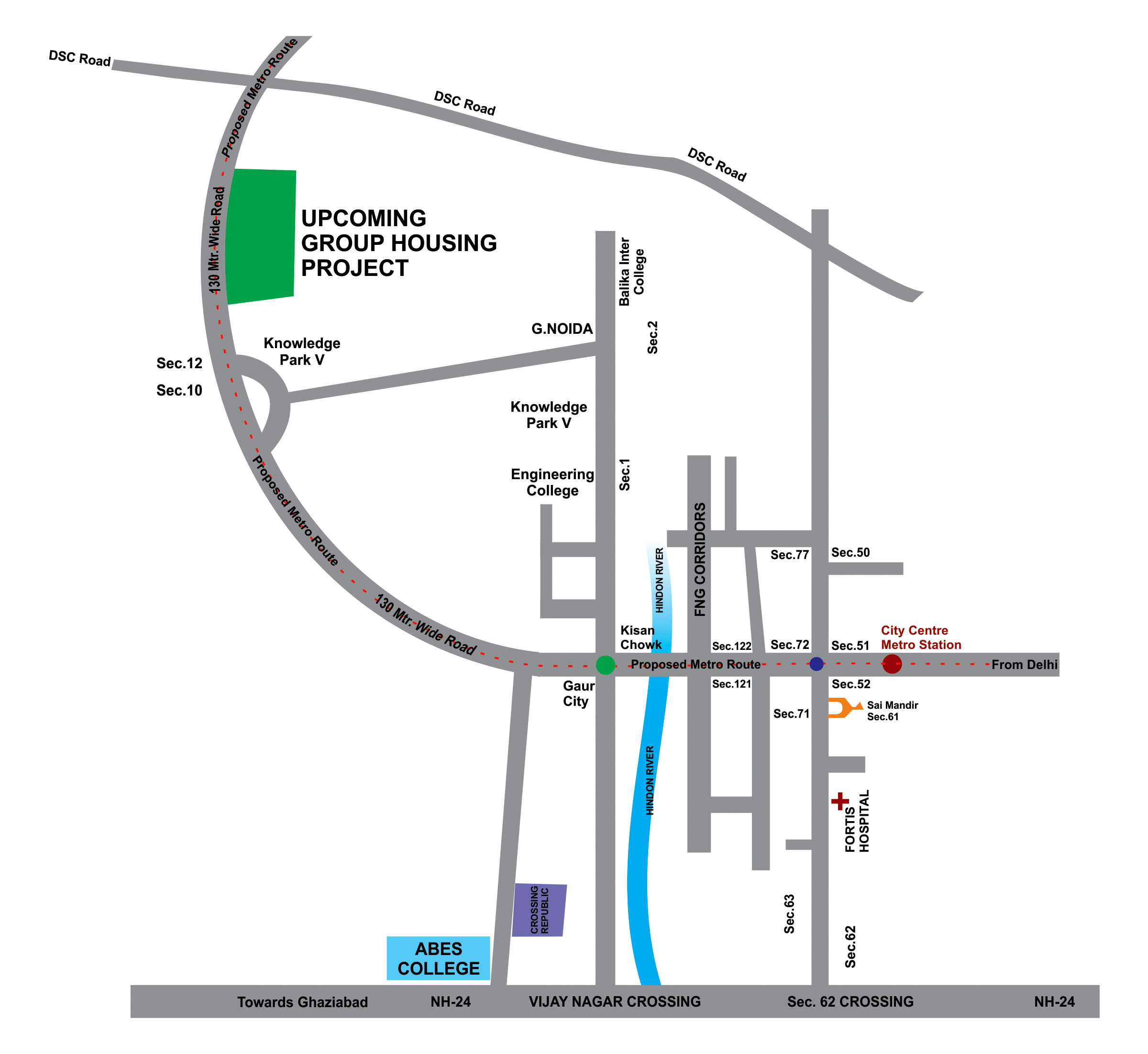 Villas In Noida Extension GNIDA (West) Location Map
