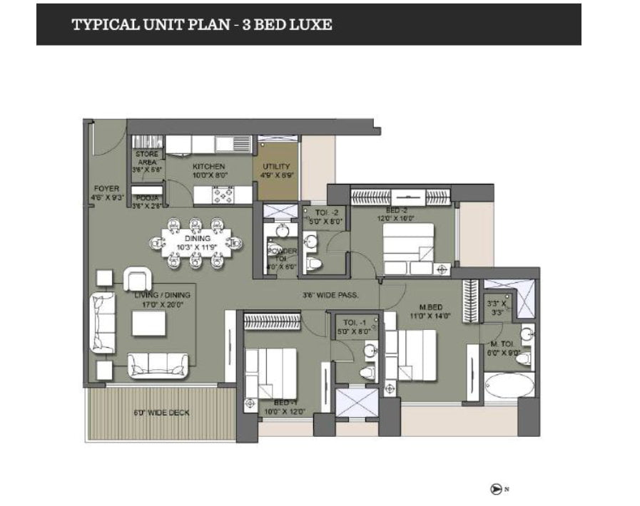 Lodha Codename Hidden Jewel floor plan 3 bed 9958959555