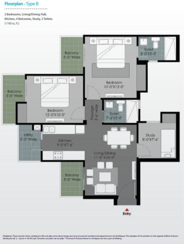 Floor plan GULSHAN BOTNIASector 144 Noida call 9958959555 Type B-2 BHK .jpg