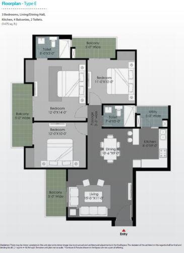 Floor plan GULSHAN BOTNIASector 144 Noida call 9958959555 Type E 3 BHK