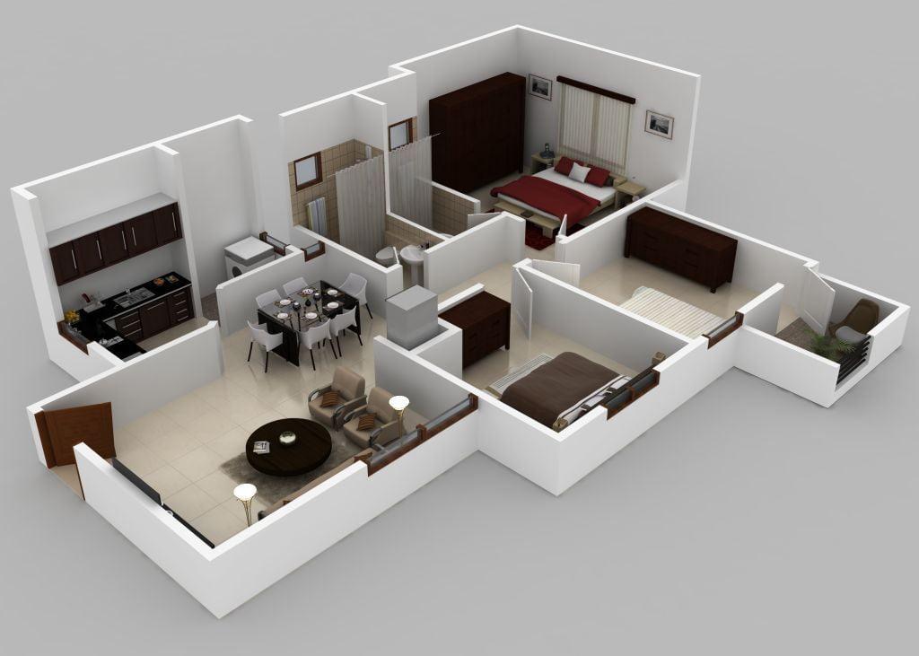 3BHK,1075sft,3D Isometric Floor Plan View