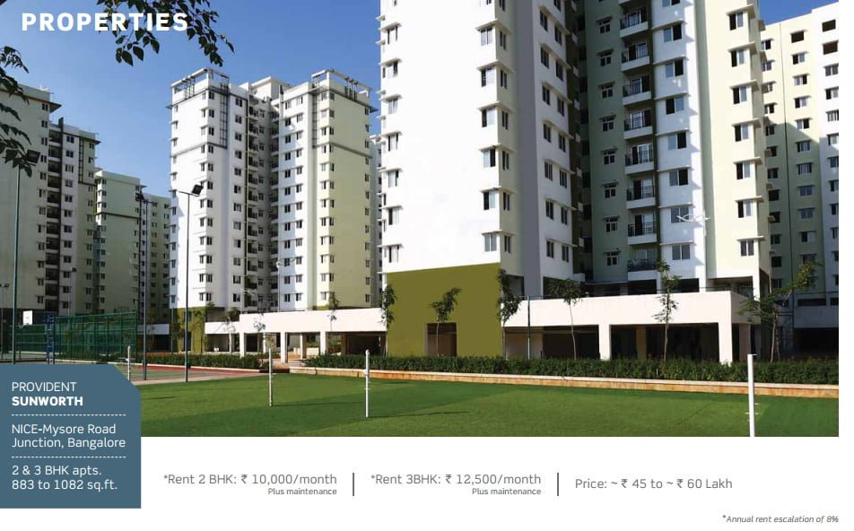 PURAVANKARA & PROVIDENT HOUSING OFFERS ASSURED RENTAL FOR 7 YEARS Provident Sunworth Banglore