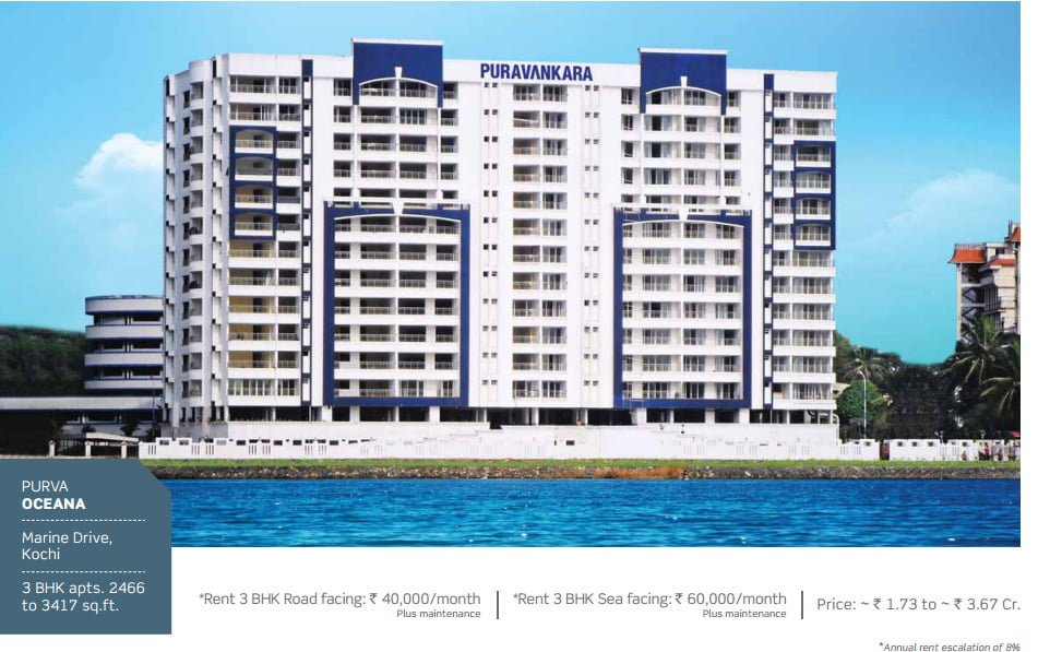 PURAVANKARA & PROVIDENT HOUSING OFFERS ASSURED RENTAL FOR 7 YEARS Purva OCEANA Kochi