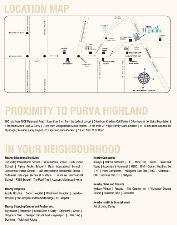 Purva Highland Kanakpur Road  Bangalore Locatiion