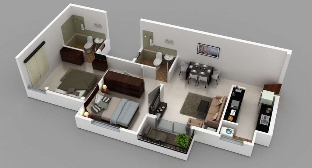 2bhk,883sft,3D Isometric View