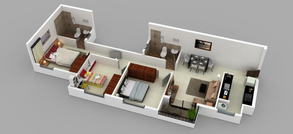 3bhk,1082sft,3D Isometric View