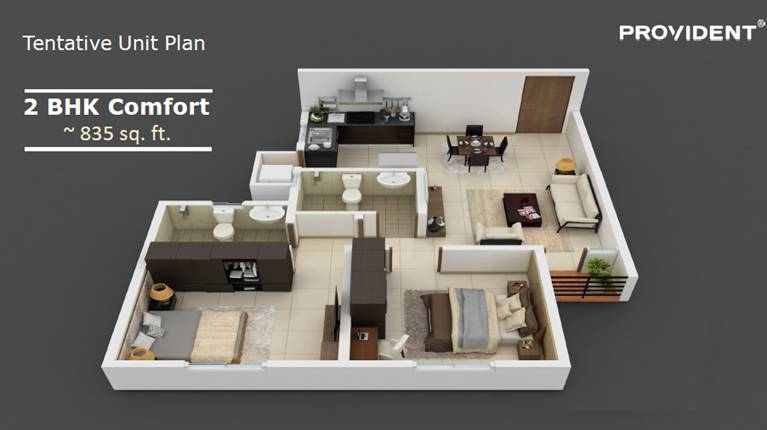 Pre Launching Provident CALL 9958959555 Rising City Bangalore 2 bhk 835 sq ft floor plan