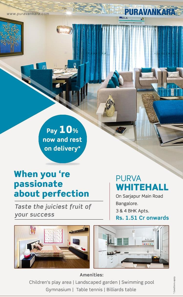 Purva Whitehall - Pay 10% now and rest on delivery*