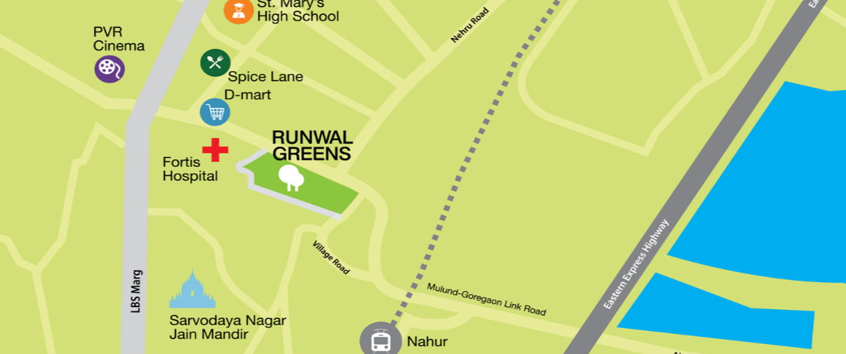 Runwal Greens Residential Projects in Mulund West Mumbai location map