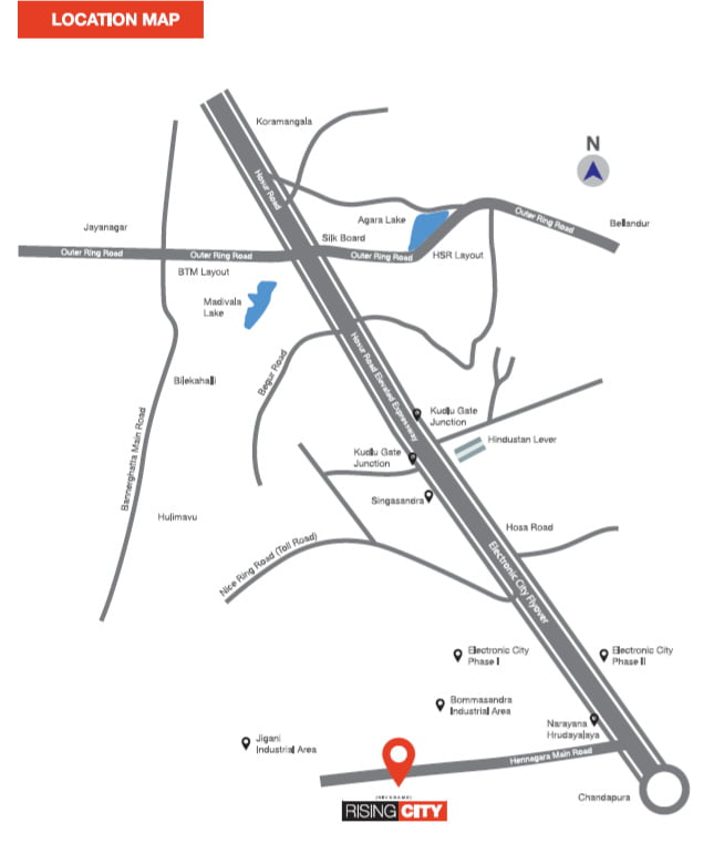 location map rising city banglore
