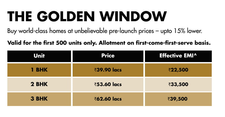 LODHA Codename Golden Tomorrow CALL 9958959555 price