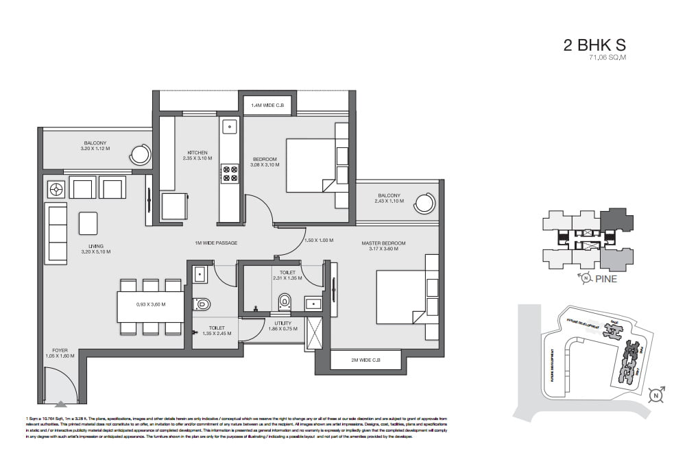 Thane 2 bhk floor plan