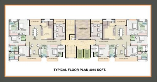 Omaxe Royal Residency – The Royal meridian Pokhwal road Ludhiana-call 9958959555 TYPICAL FLOOR PLAN 4050 SQ FT
