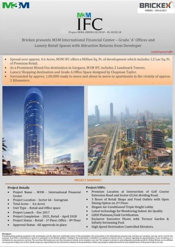 M3M International Financial Center by M3M Group located in Sector 66 ,Gurugram
