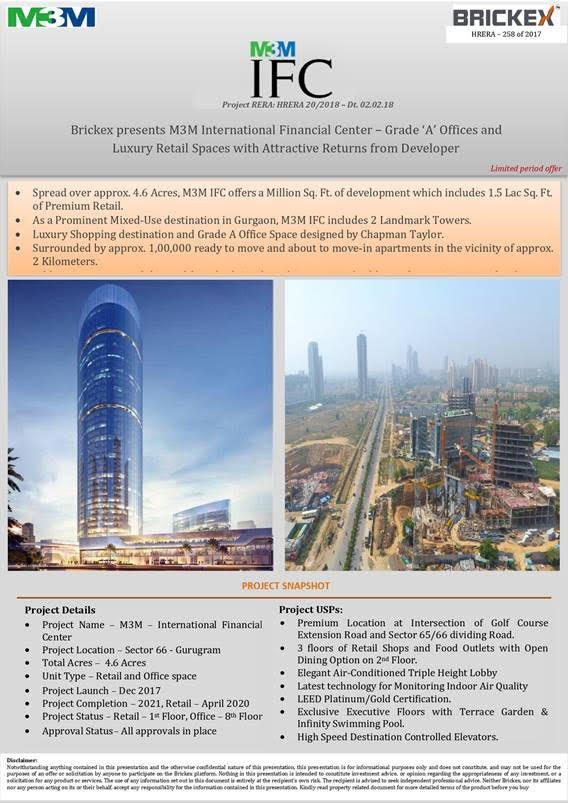 M3MInternational Financial Centerlocated in Sector 66 , Gurugram