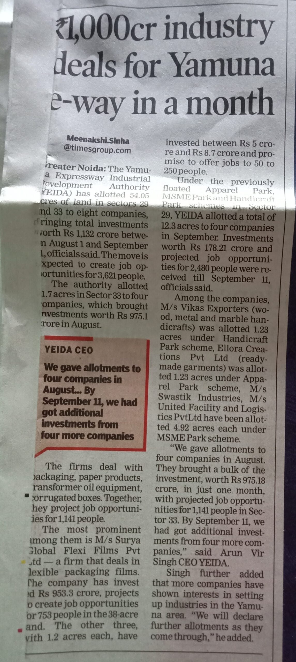 1000 cr propety sold in YEW