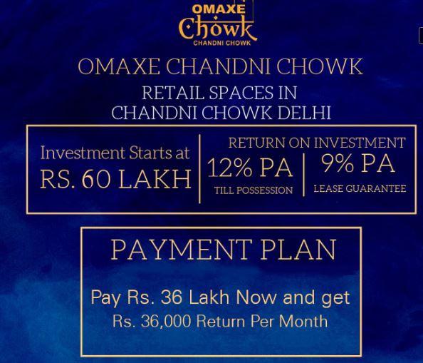 Omaxe Chowk Retail Spaces in Chandni Chowk Delhi | 60:40 Pay Plan | 12% Return Per Annum | 9% Lease Guarantee | 51% Guaranteed Income in 5 years