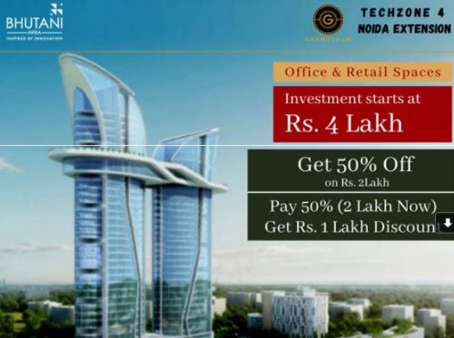 Bhutani Grandthum – Dedicated Spaces for Bank   Starting Rs. 1.8 Cr.*   12% Assured Returns   Attractive Payment Plans Available