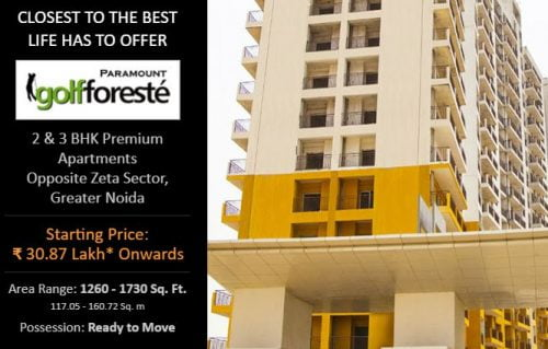 2 & 3 BHK Premium Ready To Move Apartments in Paramount Golfforeste @ Rs. 30.87 Lakh* Onw. | Location: Opp. Zeta Sector, Greater Noida | Golf Course on the Premise