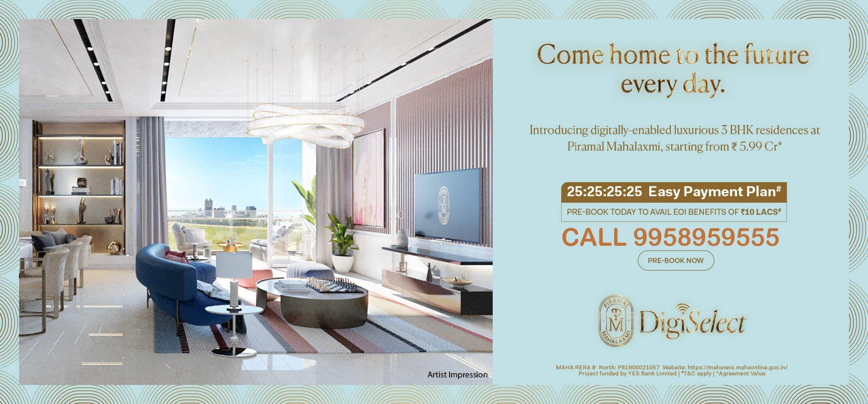 """Piramal Mahalaxmi offering luxury 2 BHK, 3 BHK Flat,4BHK and Jodi apartments for sale in South Mumbai. Enjoy the new precedent for a luxurious lifestyle. https://www.piramalmahalaxmi.net/ Launching """"Digi-Select"""" luxurious homes at """"Piramal Mahalaxmi"""" , South mumbai only for select few* CALL9958959555 City View Residences 